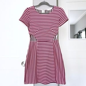 Pink and Black Striped Dress with Waist Cutouts